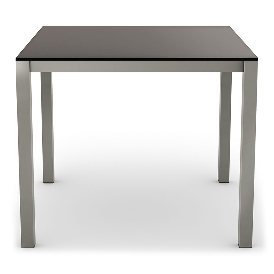 Carbon modern black glass dining table by amisco eurway for Black glass dining table