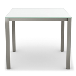 Carbon Modern Dining Table w/ White Glass by Amisco