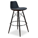 Cardiff Modern Classic Bar Stool in Gray Wool