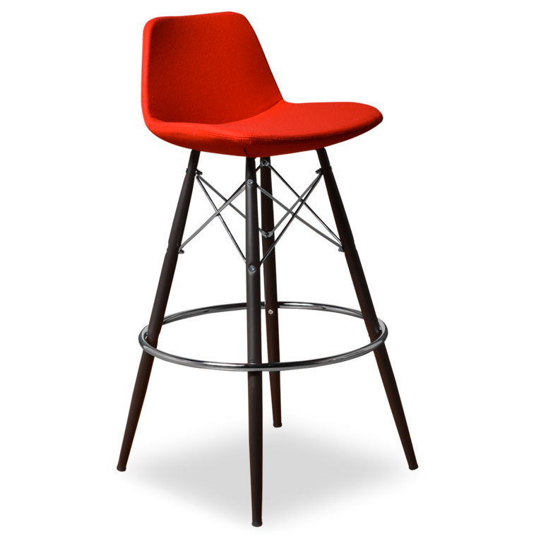 Cardiff Modern Classic Bar Stool in Red Wool
