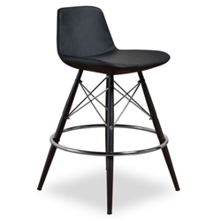 Cardiff Modern Classic Counter Stool in Black Leatherette