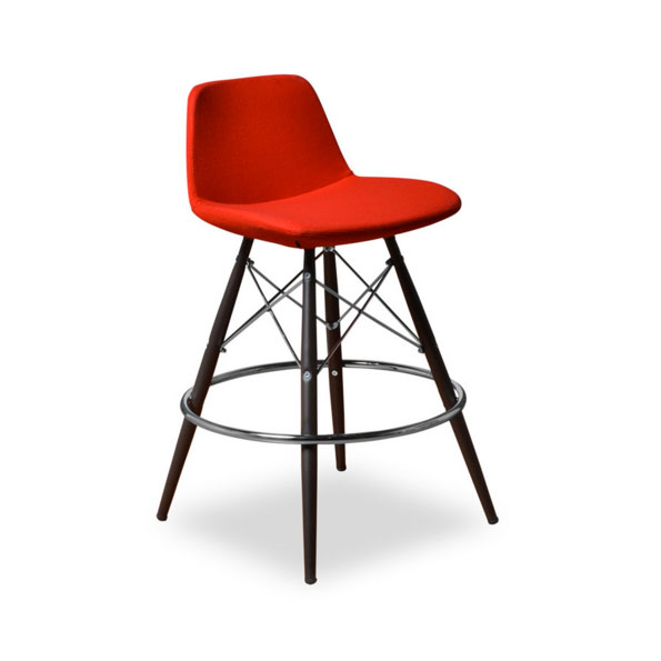 Cardiff Modern Classic Counter Stool in Red Wool