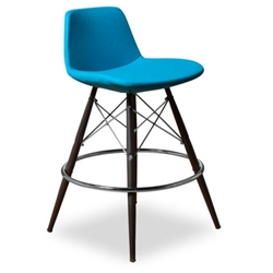 Cardiff Modern Classic Counter Stool in Turquoise Wool