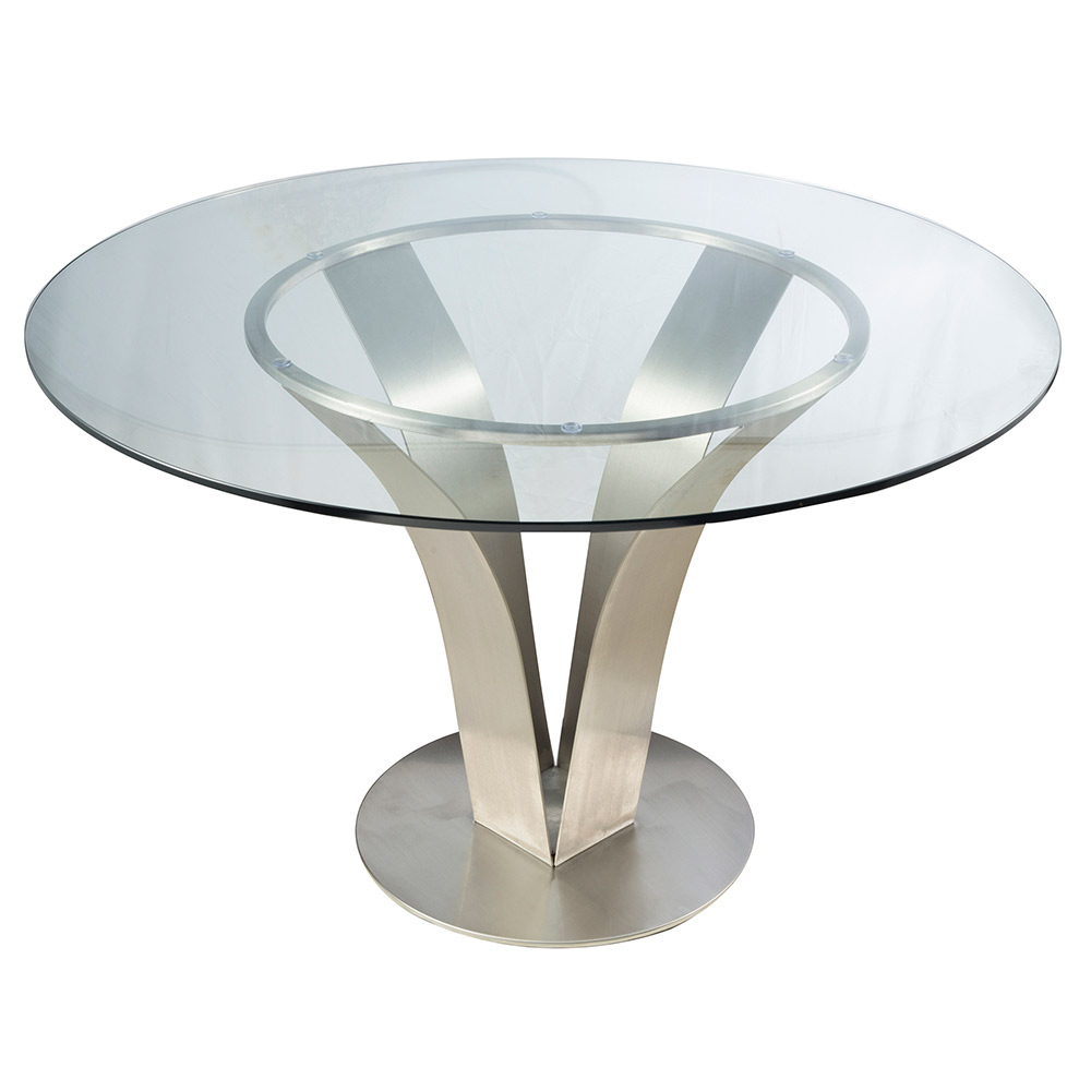 Cardin Modern Stainless Steel + Glass Dining Table