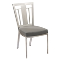 Cardin Gray Faux Leather + Stainless Steel Dining Chair
