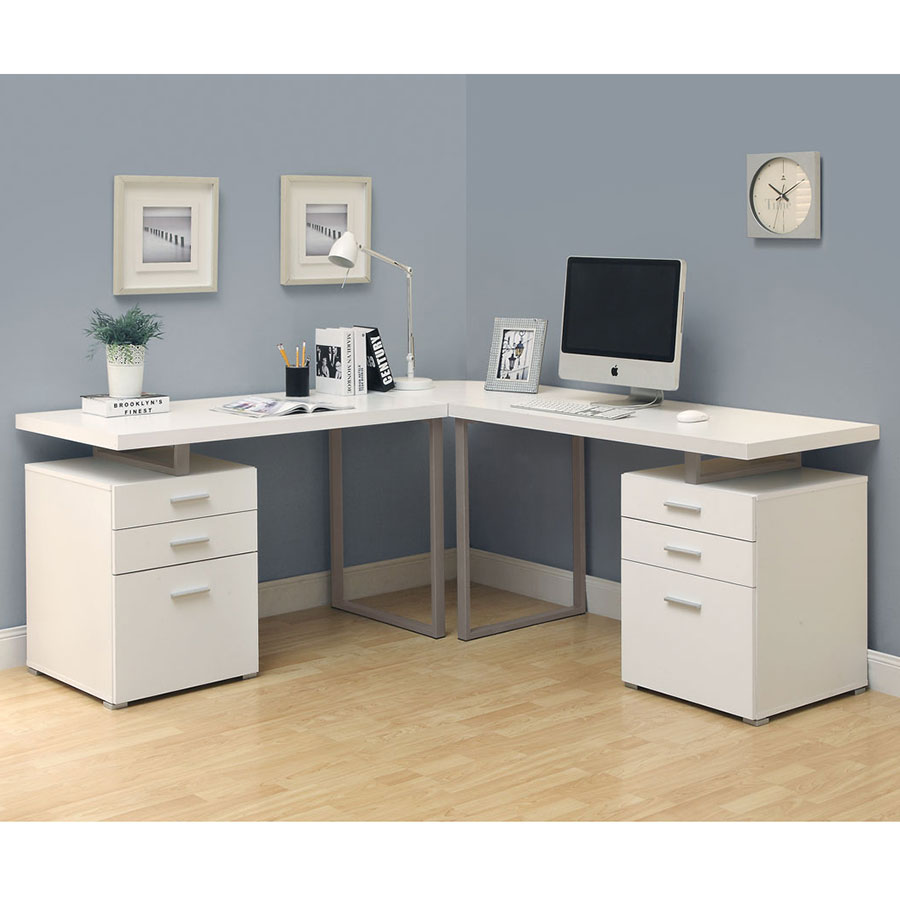 Carey White Contemporary L Desk Room