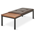 Gus* Modern Carlaw Contemporary Leather Bench with Walnut Tray and Matte Black Steel Frame