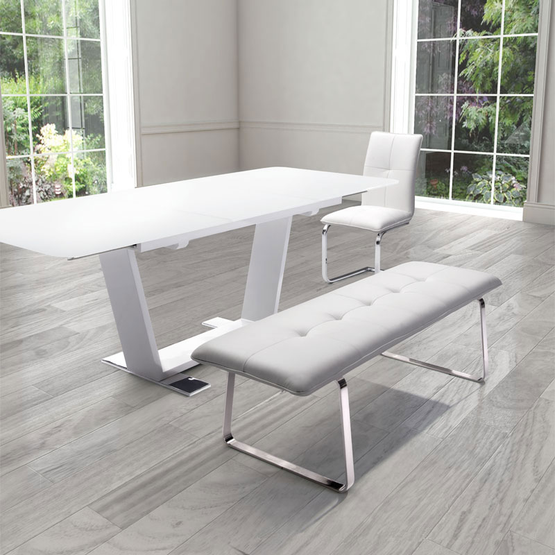 white dining bench. Carlene Sleek Modern Dining Bench Room White