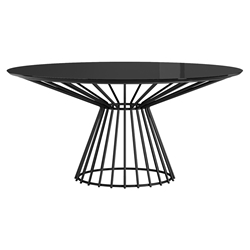 Calisle Black Glass + Metal Round Modern Dining Table by Modloft Black