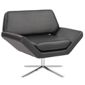 Carlotta Black Leatherette + Stainless Steel Modern Lounge Chair