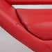 Chevron Red Faux Leather + Steel Modern Lounge Chair Front Corner Detail