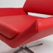 Chevron Red Faux Leather + Steel Contemporary Lounge Chair