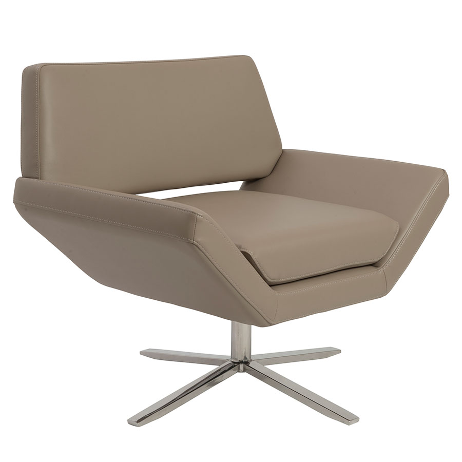 Chevron Modern Lounge Chair in Taupe