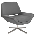 Chevron-S Gray Leatherette + Stainless Steel Modern Lounge Chair