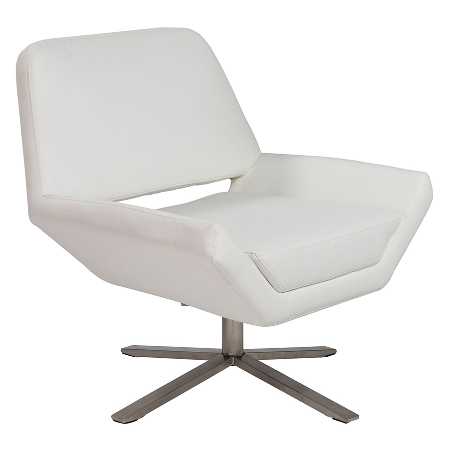 Call To Order Carlotta S White Leatherette Stainless Steel Modern Lounge Chair