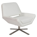 Carlotta-S White Leatherette + Stainless Steel Modern Lounge Chair