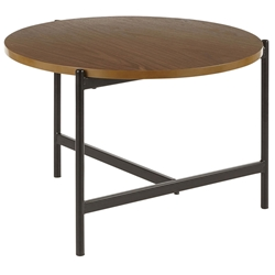 Carlson Modern Round Walnut + Black Coffee Table