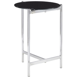 Carlson Modern Round Black Glass + Chrome End Table