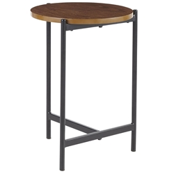 Carlson Modern Round Walnut + Black End Table