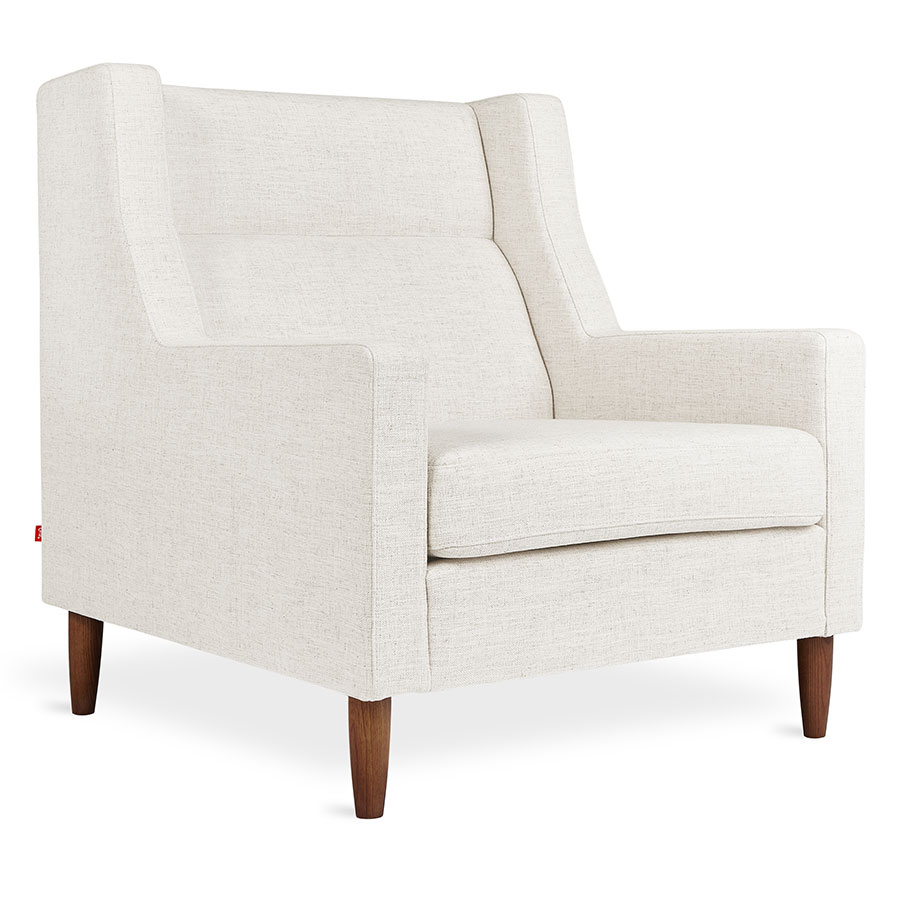 Gus* Modern Carmichael Contemporary Arm Chair in Huron Ivory Fabric Upholstery with Solid Wood Legs