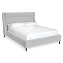 Gus* Modern Carmichael Contemporary Bed in Parliament Stone Fabric Upholstery with Solid Wood Feet