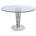 Carmine Modern Gray Walnut + Glass Dining Table