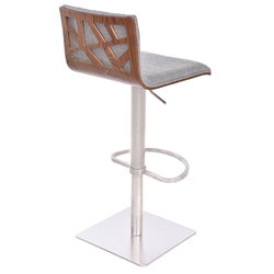 Carmine Fabric, Walnut + Brushed Steel Modern Adjustable Stool