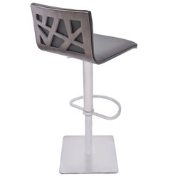 Carmine Faux Leather, Gray Walnut + Brushed Steel Modern Adjustable Stool
