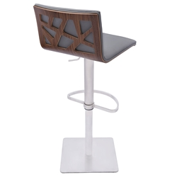 Carmine Faux Leather, Walnut + Brushed Steel Modern Adjustable Stool