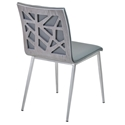 Carmine Faux Leather + Gray Walnut Dining Chair - Back View