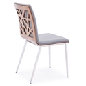 Carmine Faux Leather + Walnut Dining Chair - Back View