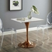 Caroline Modern Clear Side Chairs + Odyssey Rose Gold Table