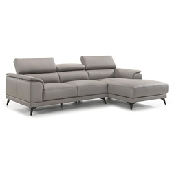 Cartagena Modern Light Grey Leather Right Facing Chaise Sectional - Headrests Up