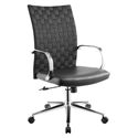 Carthage Black Faux Leather + Chromed Steel Modern Office Chair