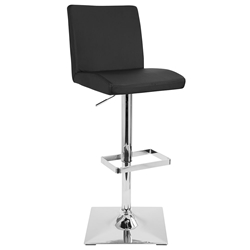 Carver Modern Adjustable Stool in Black + Chrome