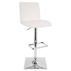 Carver Modern Adjustable Stool in White + Chrome