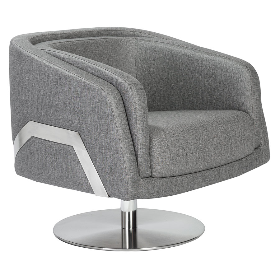 Casby Gray Faux Leather + Brushed Stainless Steel Modern Swivel Lounge Chair
