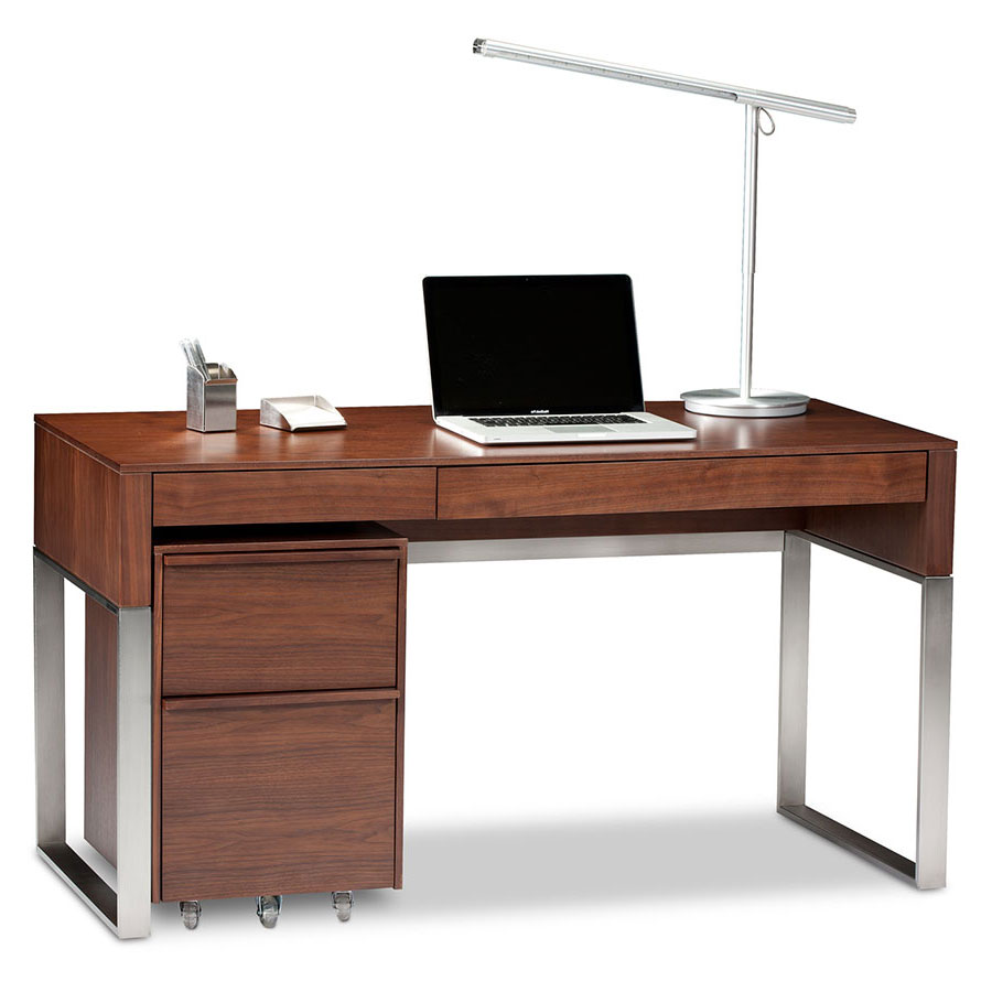 Call To Order Bdi Cascadia Modern Desk Set In Chocolate Stained Walnut Satin Nickel