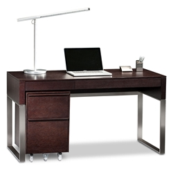 BDi Cascadia Modern Desk Set in Espresso Stained Oak + Satin Nickel