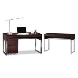 BDi Cascadia Modern Office Set in Espresso Stained Oak With Satin Nickel Legs