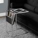 Casey Chrome Accent Table w/ Black Magazine Rack