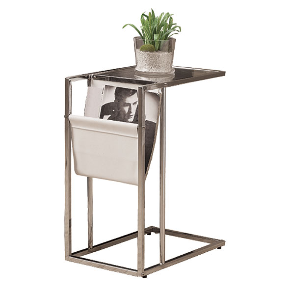 Casey White Modern Accent Table Magazine Rack Eurway