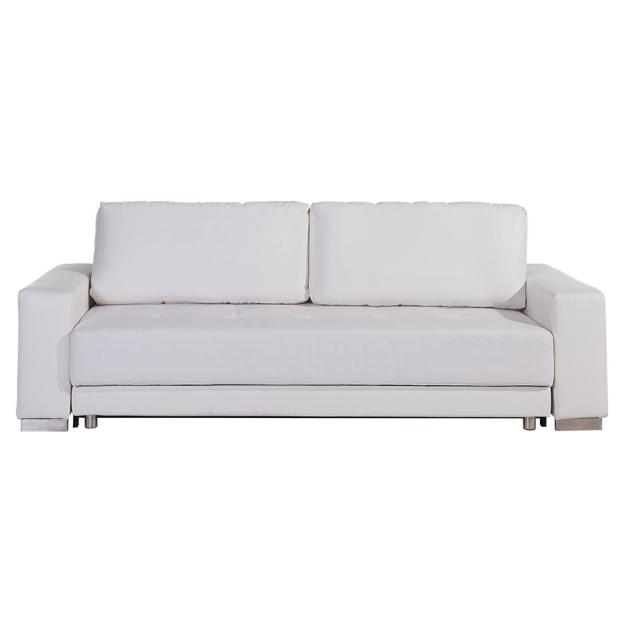 Charmant Call To Order · Caustic White Leatherette + Stainless Steel Modern Sleeper  Sofa
