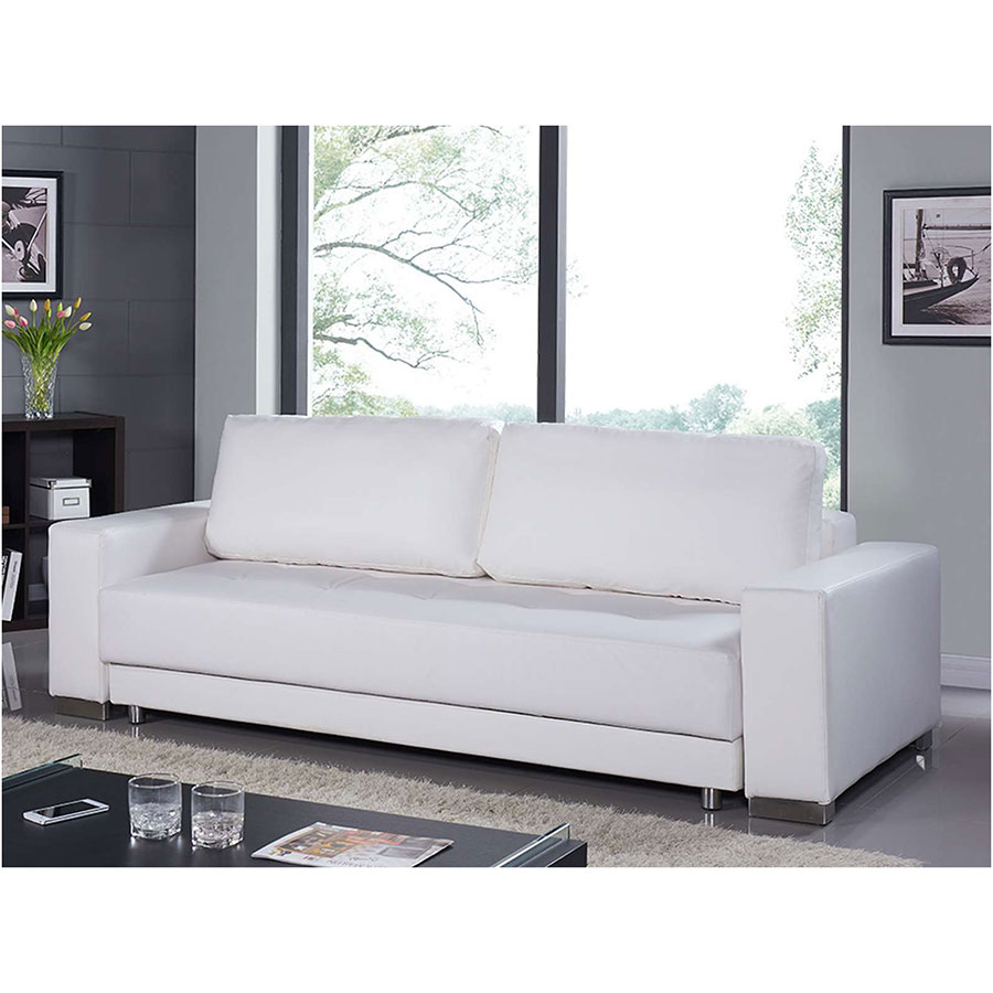 ... Caustic White Leatherette + Stainless Steel Contemporary Sofa Bed