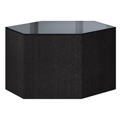 "Modloft Centre 10"" Hexagonal Modern Occasional Table in Asphalt Glass and Gray Oak Wood"