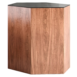 "Modloft Centre 18"" Modern Occasional Table in Black Glass and Walnut Veneers"