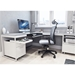 BDi Centro Executive L-Desk Contemporary Office Set In Satin White Oak and Gray Micro-Etched Glass