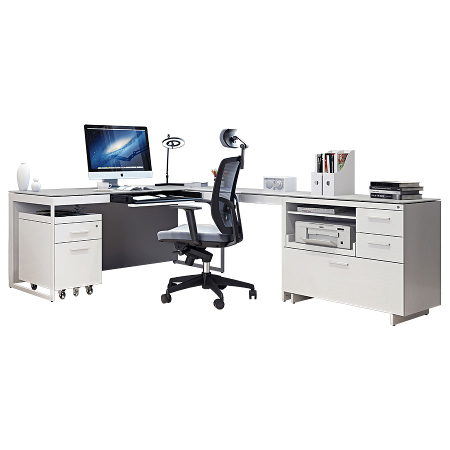 Call To Order · BDi Centro Executive L Desk Modern Office Set In Satin  White Oak And Gray Micro