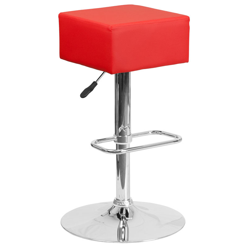 Century Modern Adjustable Barstool in Red