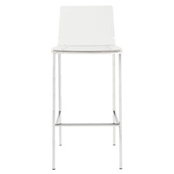 Chandler Clear Acrylic + Brushed Aluminum Metal Contemporary Bar Stool